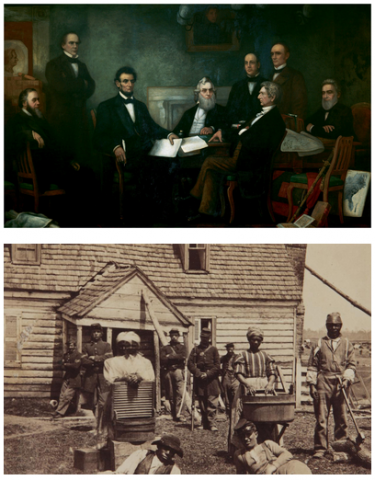 Top image is a painting with Abraham Lincoln and other lawyerly men around a table full of books and documents. Bottom image is a sepia photograph of a dozen black people outside of a house. Some people carry baskets or wash buckets.