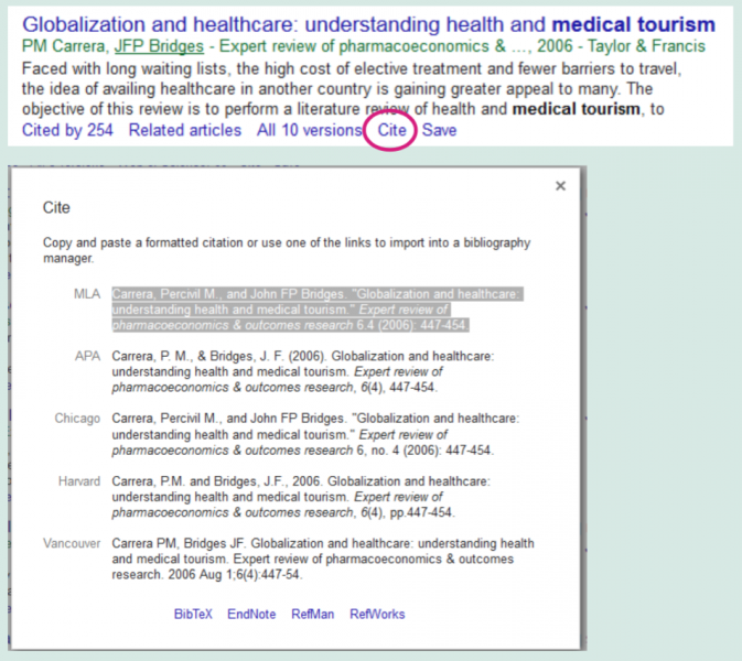 Cite button beneath article's search result in Google Scholar. Choice of style