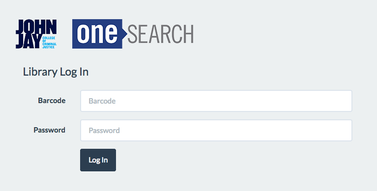 OneSearch, Library log in: barcode and password